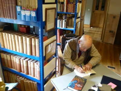 Colin Dexter in LIbrary, 2