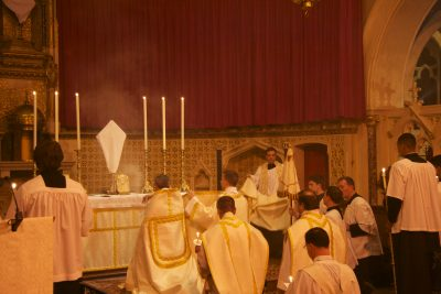 The Blessed Sacrament is incensed