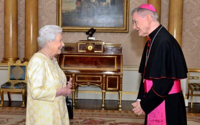 LONDON, ENGLAND - JUNE 8: Queen Elizabeth II meets His Excellency Archbishop Edward Joseph Adams, Apostolic nuncio, during a private audience in Buckingham Palace on June 8, 2017 in London, England. (Photo by Victoria Jones - WPA Pool / Getty Images)