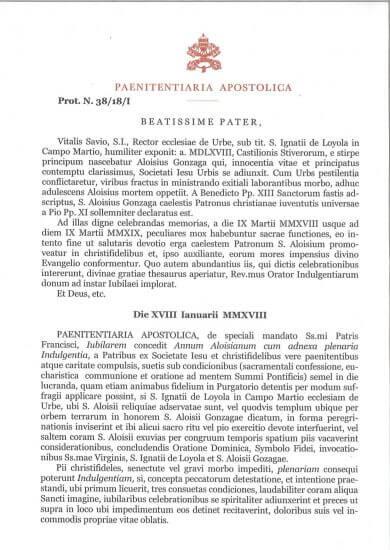 Decreto Giubileo Aloisiano
